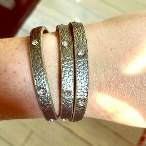 Gold Leather Wrap Bracelet